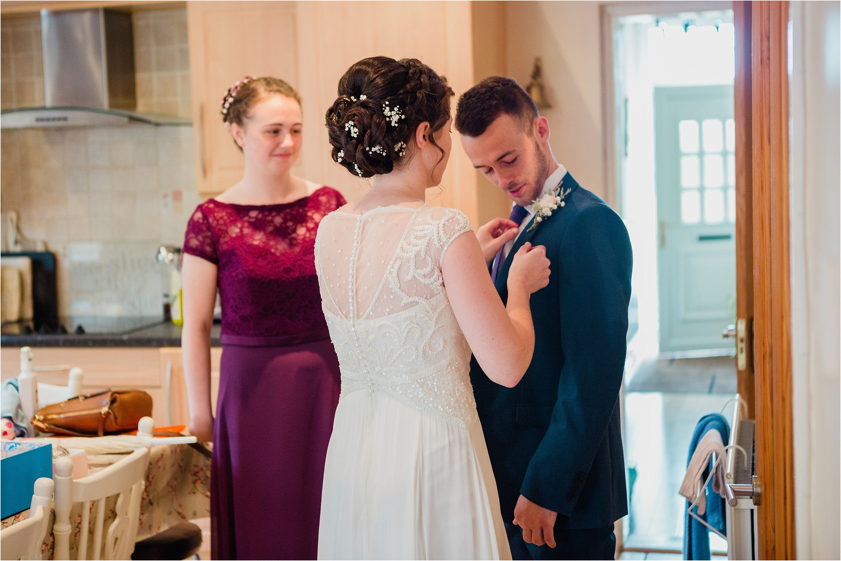 bridal prep, bride helping brother