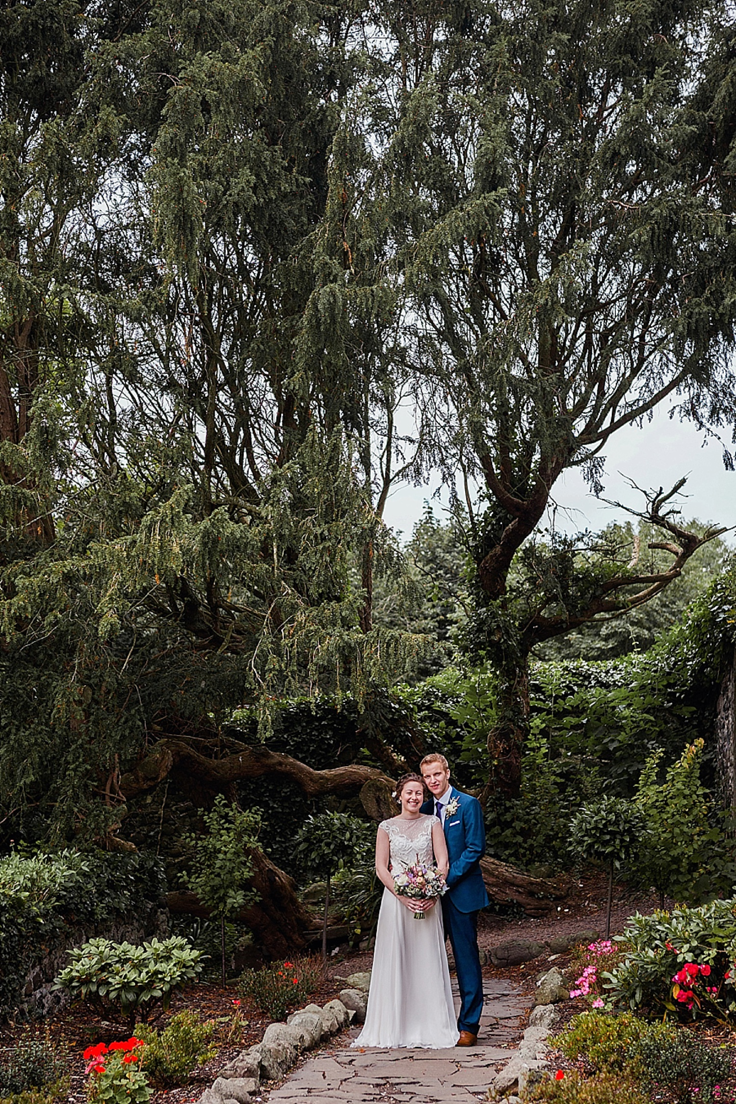 bride and groom portrait in gardens