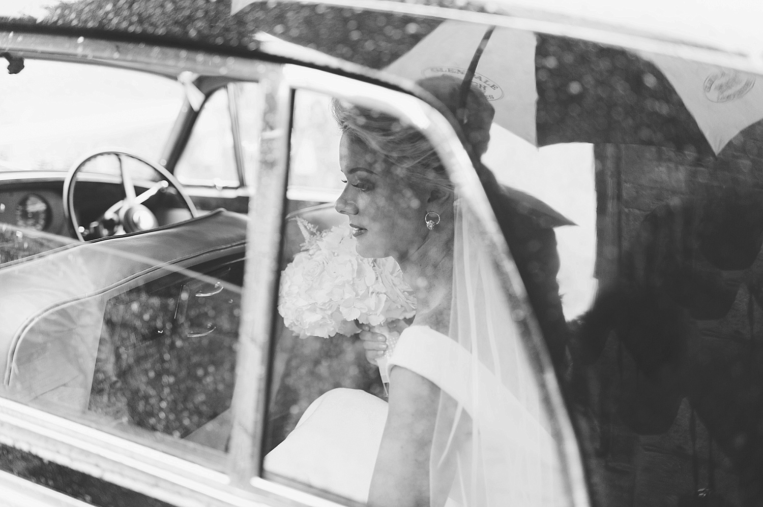 pronovias wedding dress, bride in the rain