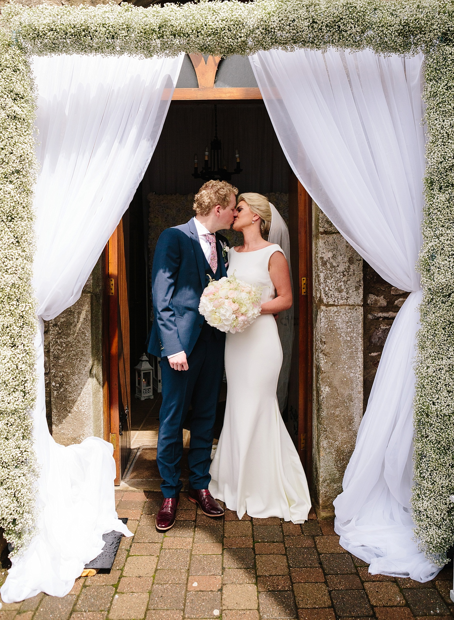 bride and groom, pronovias wedding dress, lough eske wedding