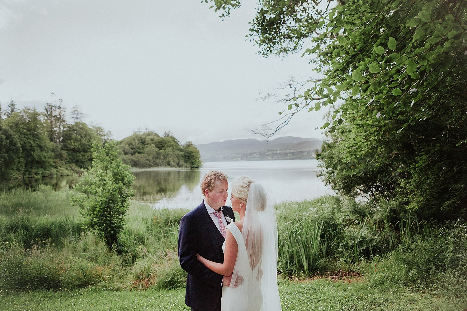 bride and groom lough eske wedding