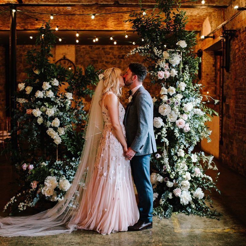 pink wedding dress