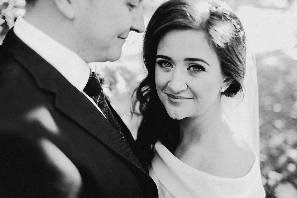 bride black and white portrait