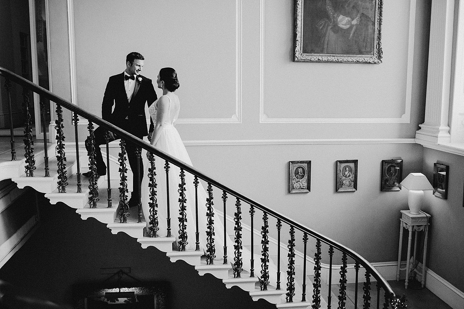 Drenagh wedding couple on staircase