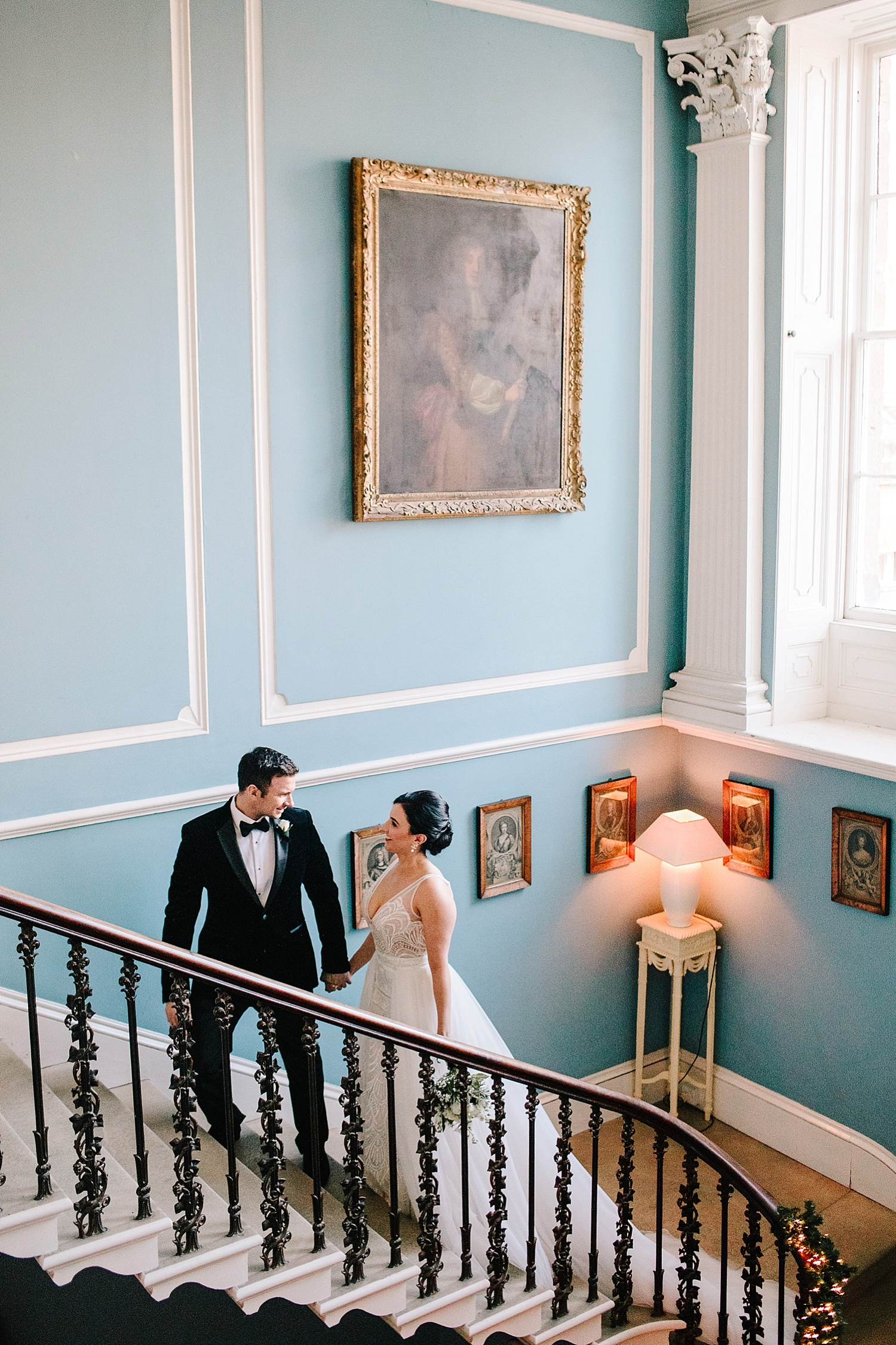 bride and groom inside Drenagh house